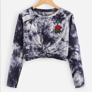 Tie dye rose crop top shirt